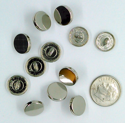 12pc. Pack Silver 11.5mm Flat Top Button Back Glue On Metal Button Shank S2210