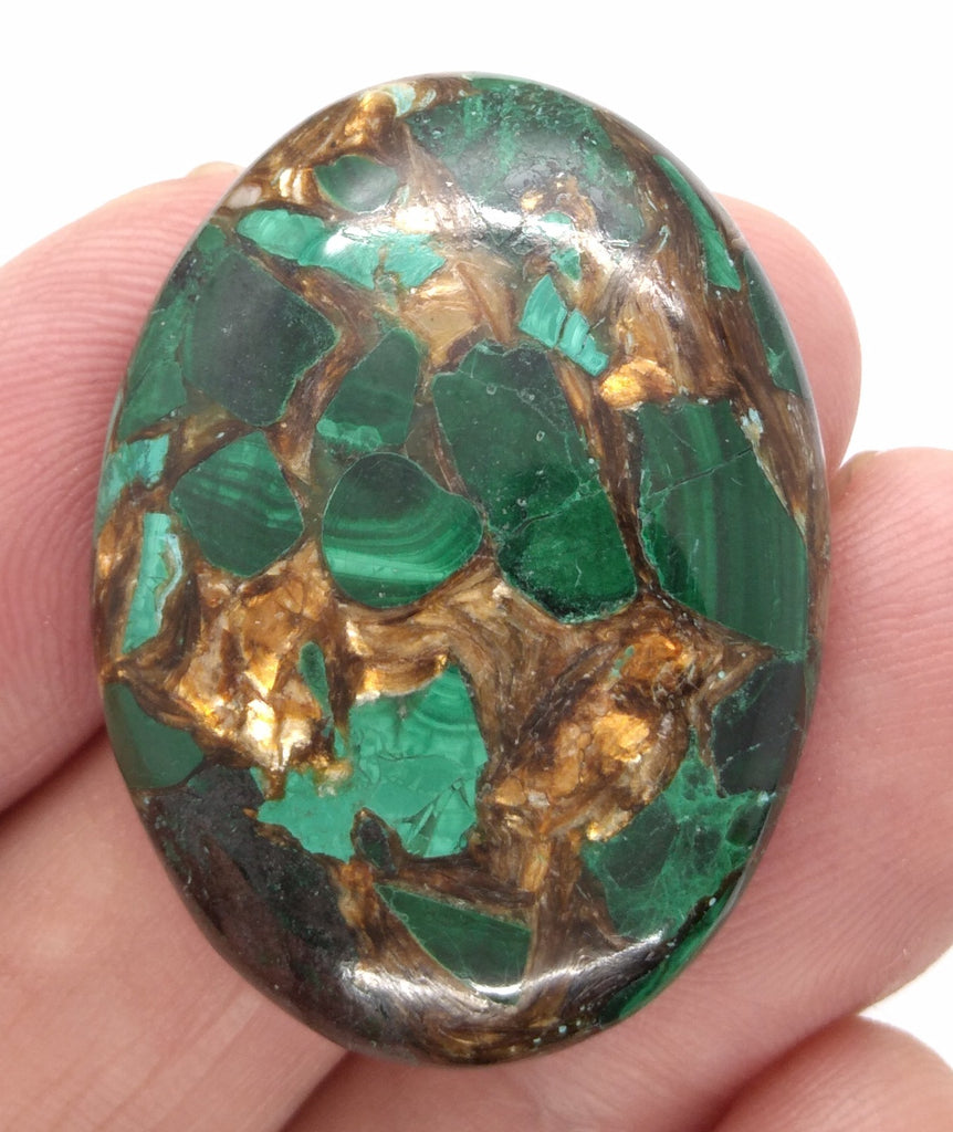 40x30mm Green Matrix Collage Cabochon Stone Flat back oval loose CAB S2212C