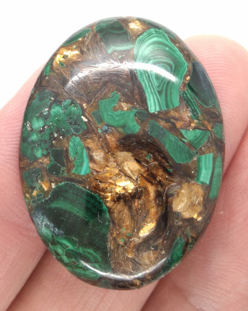 40x30mm Green Matrix Collage Cabochon Stone Flat back oval loose CAB S2212E