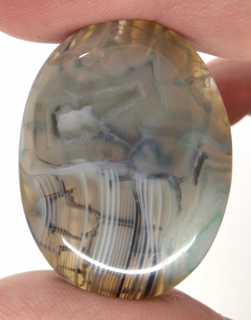 40x30mm Mossy Green Blue Dragon Vein Agate Cabochon Flat Back Oval S2214B