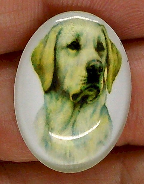 25x18mm yellow labrador retriever Dog Glass Cabochon Cameo Jewelry Finding S2218