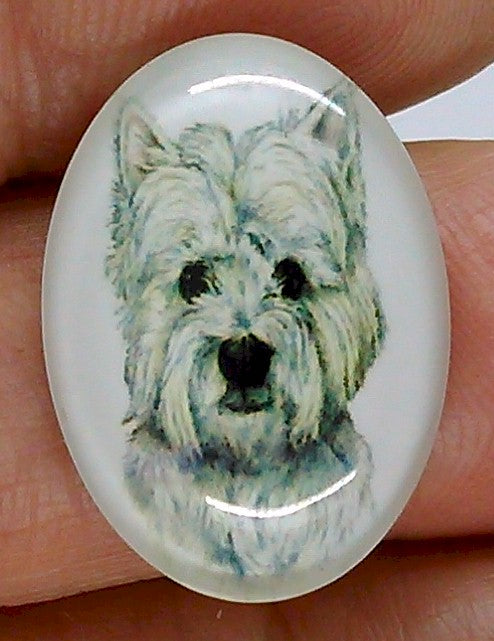25x18mm West Highland White Terrier Dog Glass Cabochon Cameo Jewelry Finding S2220