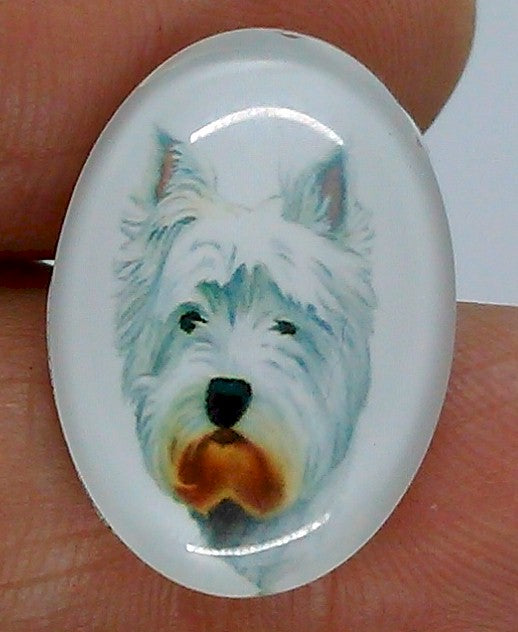 25x18mm Terrier Dog Glass Cabochon Cameo Jewelry Finding S2224