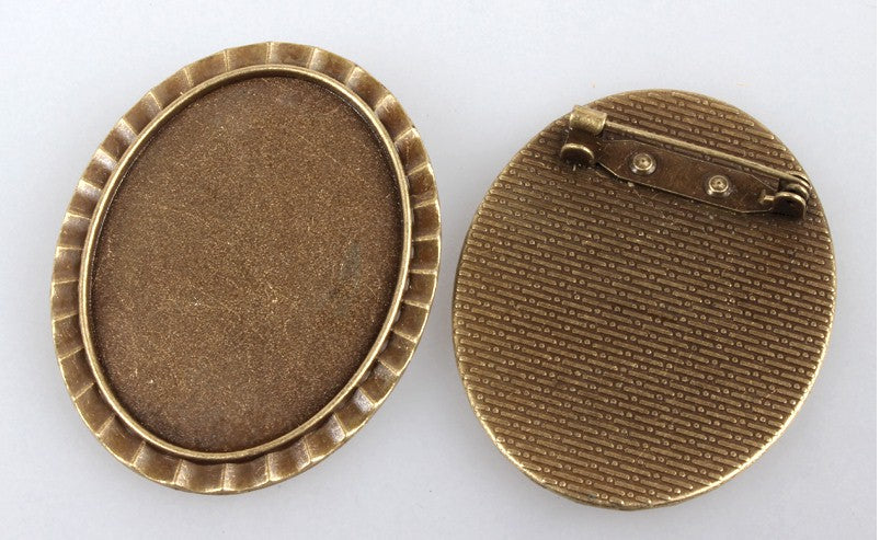 40x30mm Antique Bronze Cabochon Cameo Brooch Setting with Pin S2229