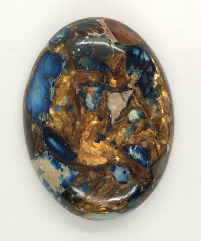 40x30mm Deep Blue Copper Matrix Collage Stone Oval Loose Cabachon Cab  S4000C