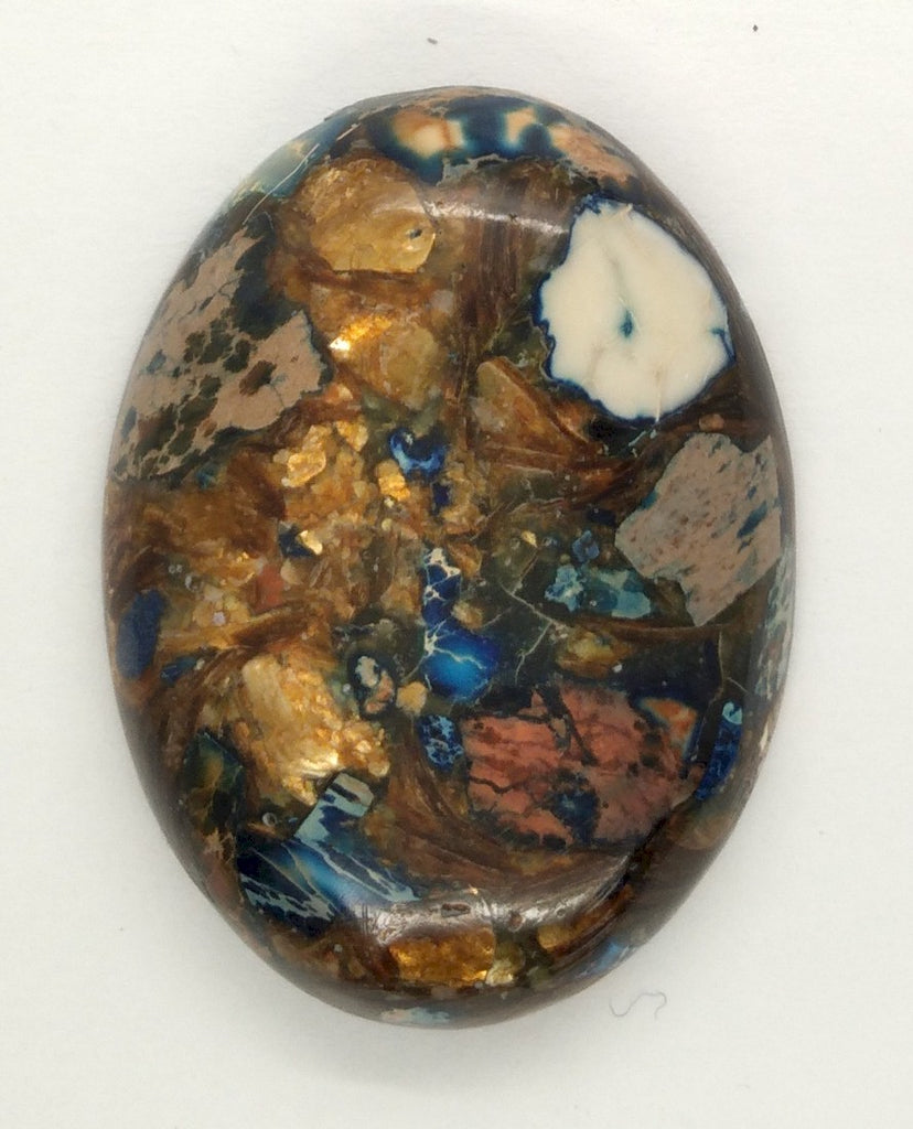 40x30mm Deep Blue Copper Matrix Collage Stone Oval Loose Cabachon Cab  S4000F