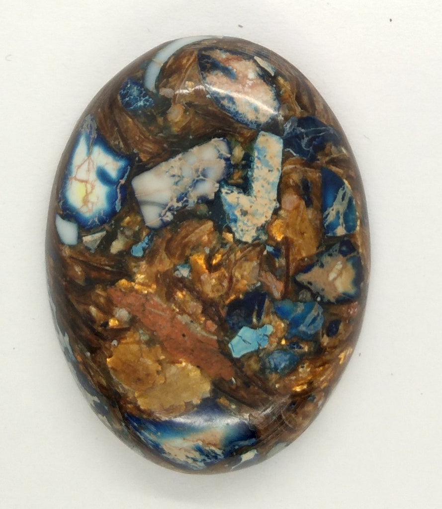 40x30mm Deep Blue Copper Matrix Collage Stone Oval Loose Cabachon Cab  S4000G