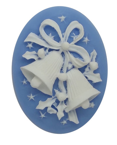 40x30mm Christmas Holiday Bells Blue White Resin Cameo Cabachon S4001