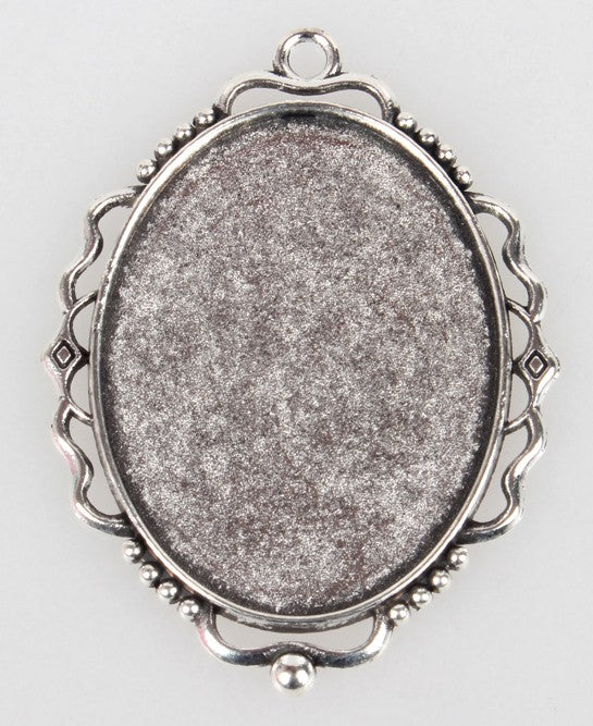 40x30mm Antique Silver Pendant Cabochon Cameo Frame Setting S4006