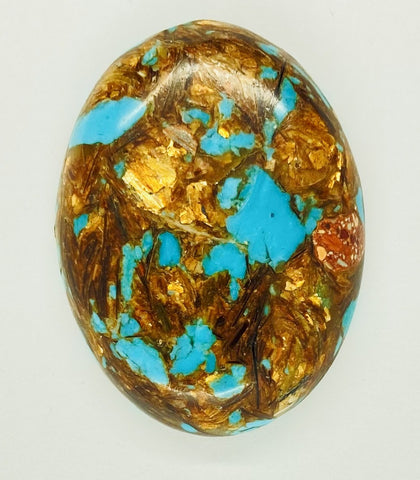 40x30mm Deep Turquoise Copper Matrix Collage Stone Oval Loose Cabachon Cab  S4007C