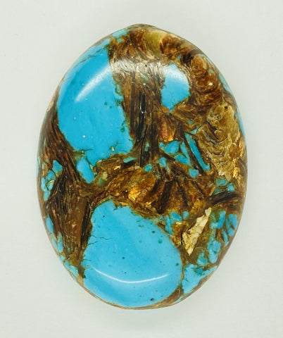 40x30mm Deep Turquoise Copper Matrix Collage Stone Oval Loose Cabachon Cab  S4007E
