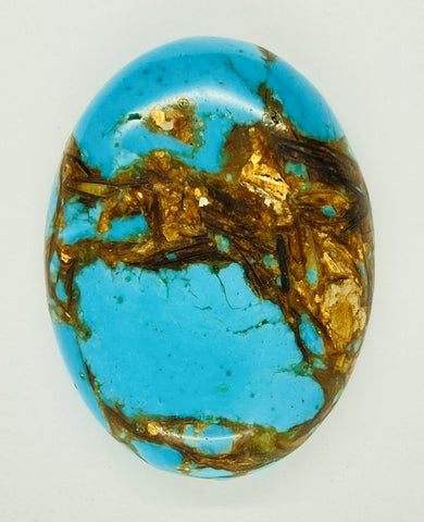 40x30mm Deep Turquoise Copper Matrix Collage Stone Oval Loose Cabachon Cab  S4007G