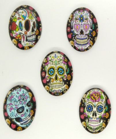 5pcs. Set 25x18mm Glass Sugar Skull Calavera Mexican Day of the Dead Cabochon S4024