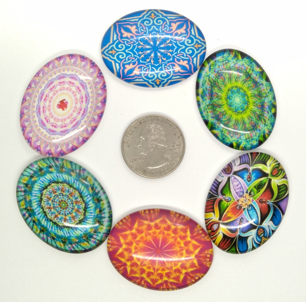 6pcs. Mixed Lot 40x30mm Glass Designer Kaleidoscope Pattern Cabochons Flat back S4027