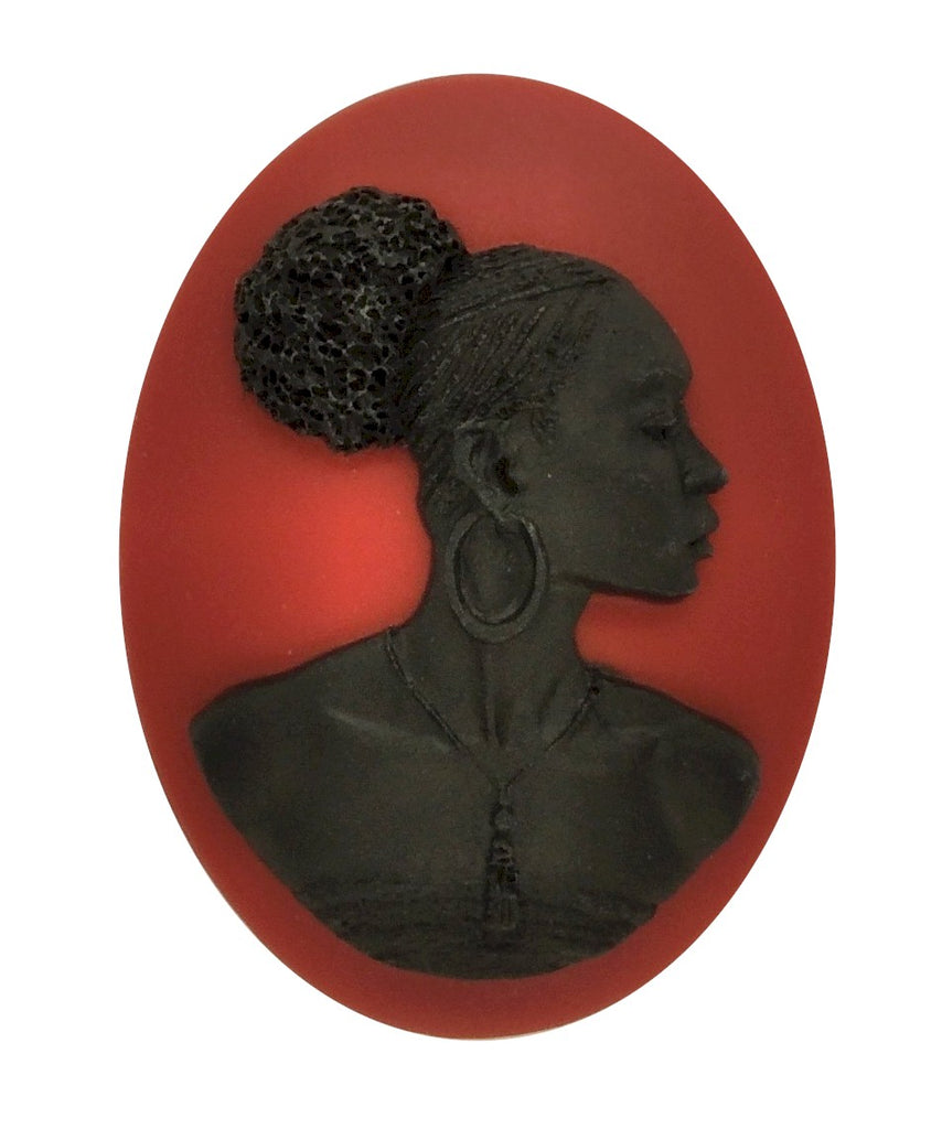 40x30mm African American Black Woman Resin Cameo Cabochon Red S4039