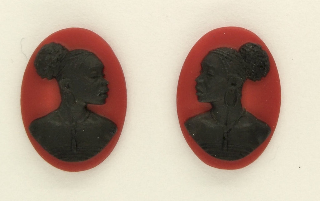 18x13mm pair of African American Black Woman Resin Cameo Cabochon Red S4041