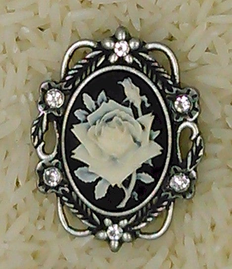 Rhinestone Rose Cameo Brooch Pin Finshed Cameo Jewelry Supply F100
