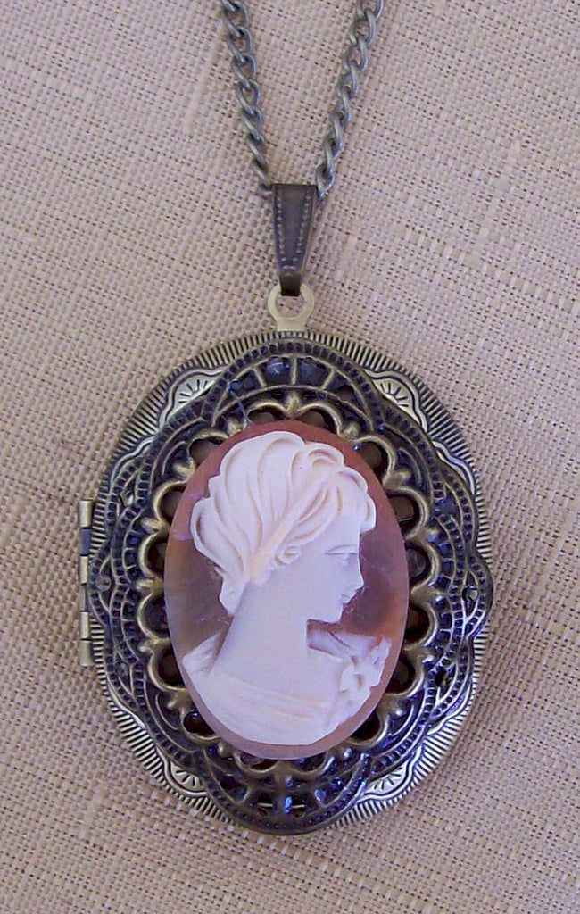 Large Cameo Locket Necklace carved Italian carnelian Cameo Pendant F147