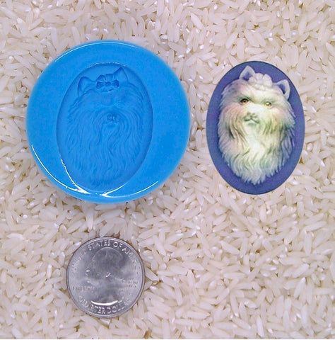 Yorkshire Terrier Dog Lover Gift Yorkie Food Safe Silicone Cameo Mold for candy soap clay resin wax etc.