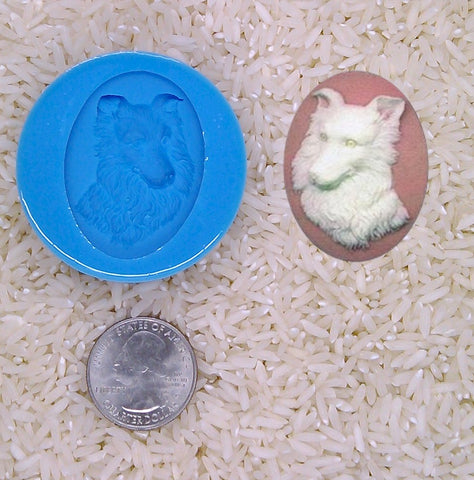 Border Collie Dog Lover Gift Food Safe Silicone Cameo Mold for candy soap clay resin wax etc.