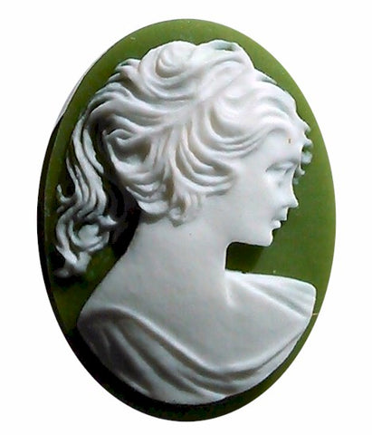 30x22mm Ponytail Girl Resin Cameo Green White S2050
