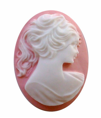 30x22mm Ponytail Girl Resin Cameo Pink and White S2051