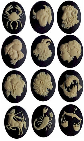 12pc Zodiac Cameo Set 40x30mm Zodiac Astrology Sign Horoscope Constellation Cameos