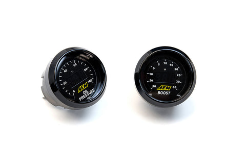 AEM 2 52mm Gauge Set, Oil Pressure + Boost Gauge - JD Customs U.S.A