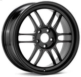 RPF1 18X9.5 5X114.3 15MM OFFSET 73MM BORE BLACK WHEEL BY ENKEI