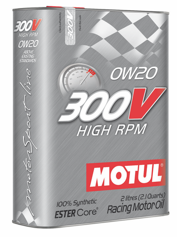 MOTUL Engine Oil 300V High RPM - 0W20 -2L - JD Customs U.S.A