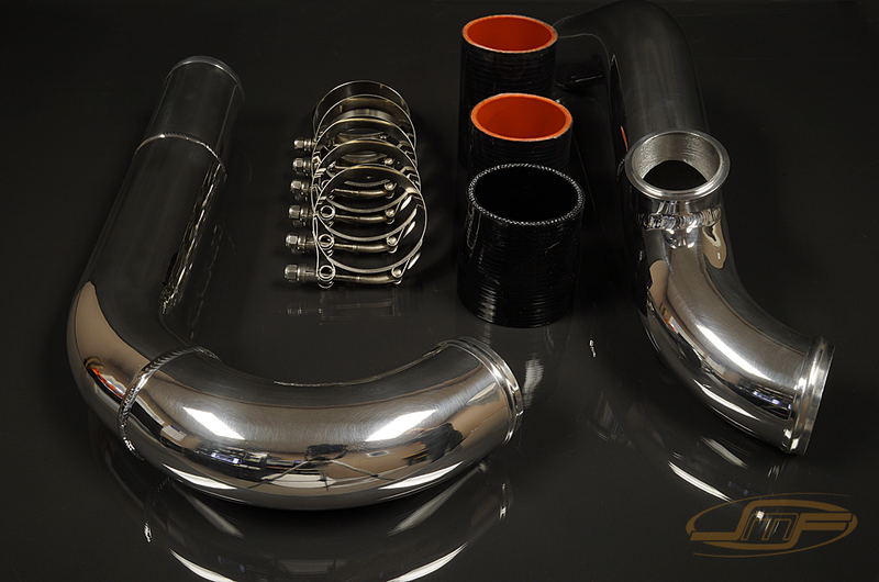 "JM FAB 2.5"" Polished Upper Intercooler Pipe Kit for Angled Throttle Body (Evo 7/8/9) - JD Customs U.S.A"