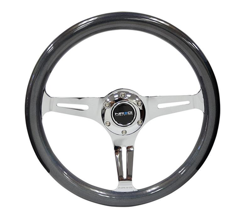 NRG Classic Colored Wood Steering Wheel with Chrome Spokes | Multiple Colors