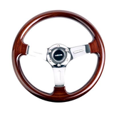 NRG Wood Steering Wheel w/ Chrome Center - JD Customs U.S.A
