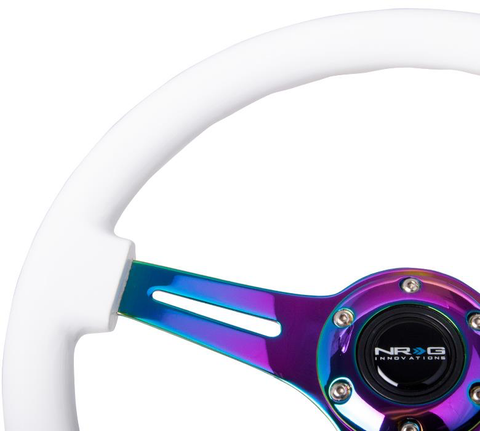 NRG White Wood Steering Wheel w/ NeoChrome Center - JD Customs U.S.A