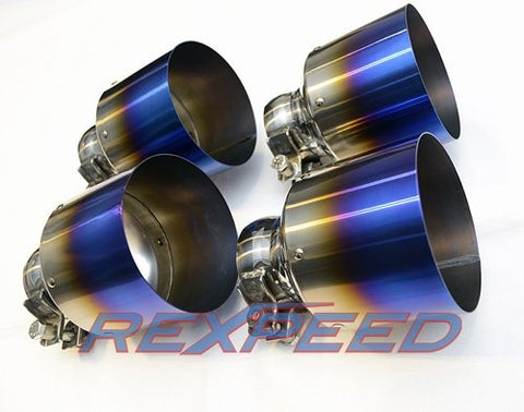 Rexpeed  R35 GT-R Titanium Blue Exhaust Tips