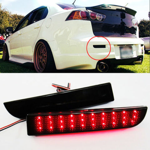 2008-14 LED Bumper Reflector Smoked Lens Tail Brake Light For Mitsubishi Lancer EVO Evolution X CZ4A Outlander Sport RVR ASX - JD Customs U.S.A