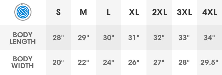 Midweight Hoodie Sizing Guide
