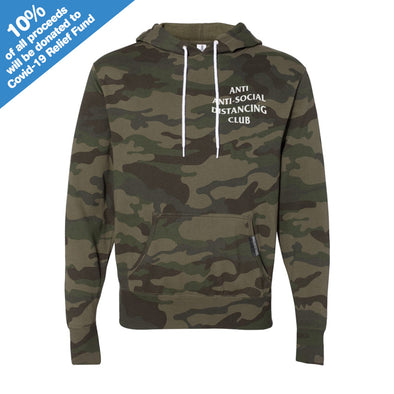 Anti Anti-Social Distancing Club Forest Camo Hooded Pullover
