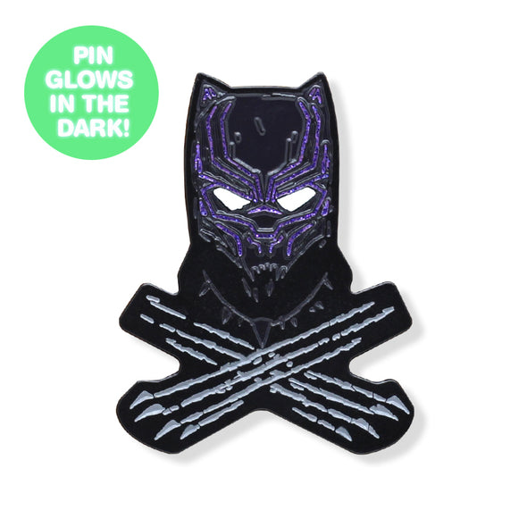 Black Cat & Crossbones GLOW-IN-THE-DARK Enamel Pin
