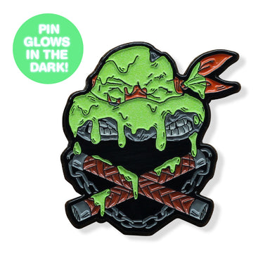 Ninjas & Crossbones Enamel Pin: Orange