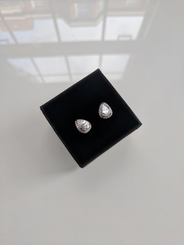 Cry Me A River - Teardrop Silver Stud Earrings