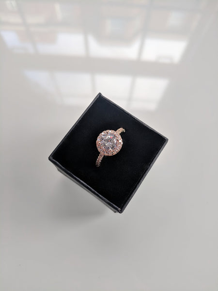 Rosanne - Round Cut Cubic Zirconia Rose Gold Ring