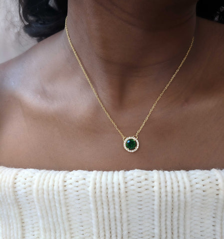 Envy - Emerald Green Round Cut Cubic Zirconia Gold Necklace