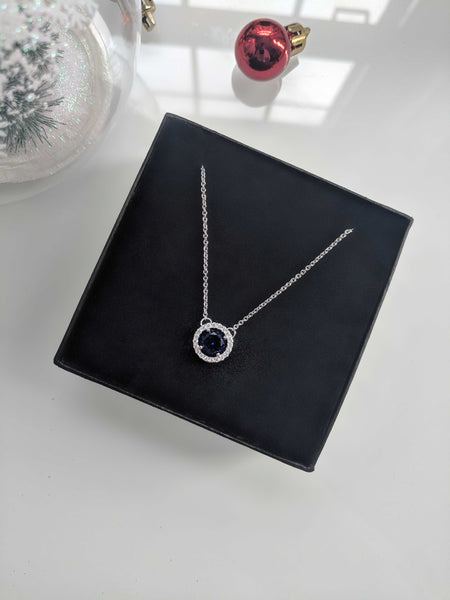 Neptune - Royal Blue Round Cut Cubic Zirconia Silver Necklace