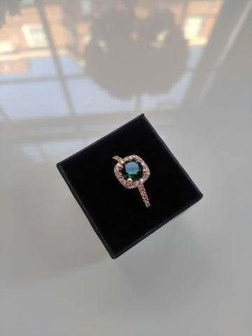 Gemma - Cushion Cut Green Rose Gold Ring