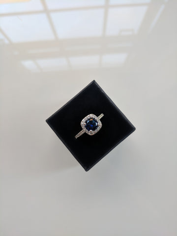 Gemma - Cushion Cut Blue Silver Ring