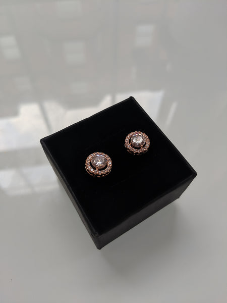 Princess Thumbelina Rose Gold Round Cut Studs
