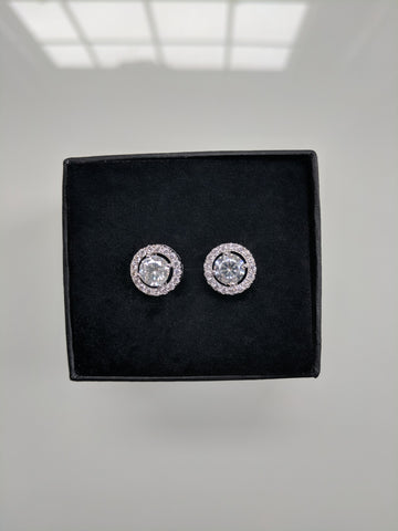 The Princess Studs - Round Cut Clear Cubic Zirconia Silver Studs