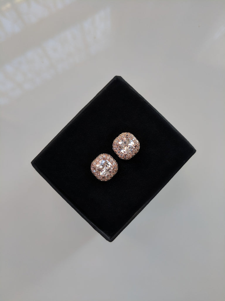 Mini Monroe Studs - Cushion Cut Rose Gold Cubic Zirconia Studs