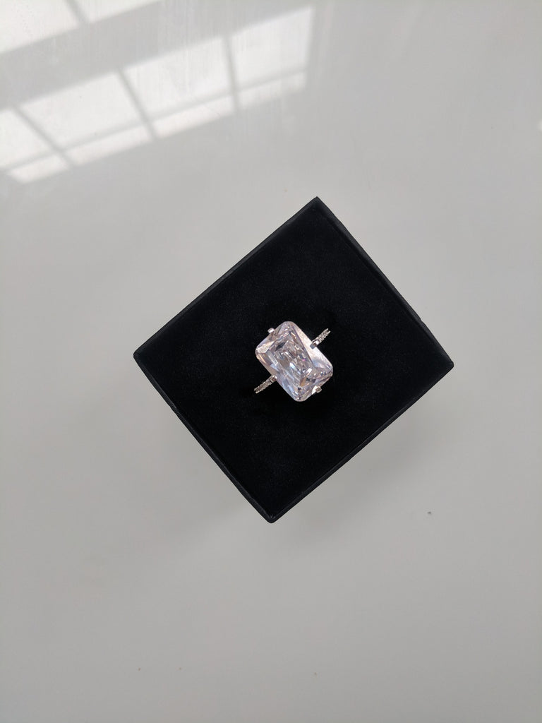 Hollywood Ring - Extra Large Emerald Cut Cubic Zirconia  925 Sterling Silver Ring